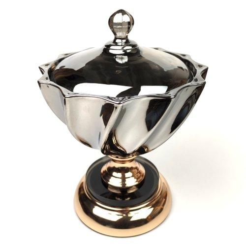 Bomboniera din sticla neagra, cu picior metalic auriu