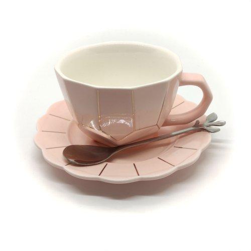 Cana pentru ceai sau cafea, cu farfurie si lingurita, roz sau bleo