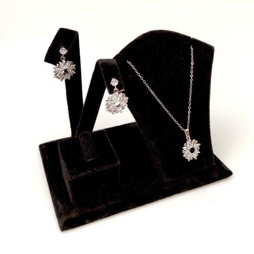 Expozor negru catifelat, pentru seturi de bijuterii