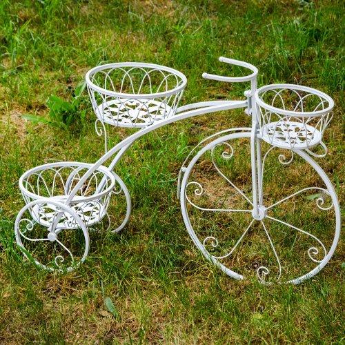 Bicicleta Alba Din Metal Cu Trei Suporturi Pentru Ghivece Flori