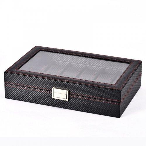 Luxury Line - Cutie Ceasuri Neagra Cu 12 Spatii - Carbon Style