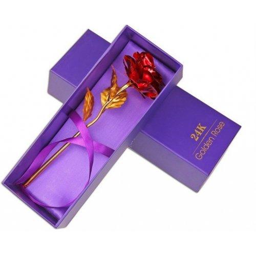 Trandafir artificial placat cu aur 24k