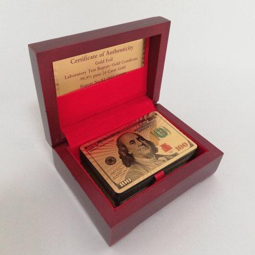 Set carti de joc placate cu aur in cutiuta de lemn