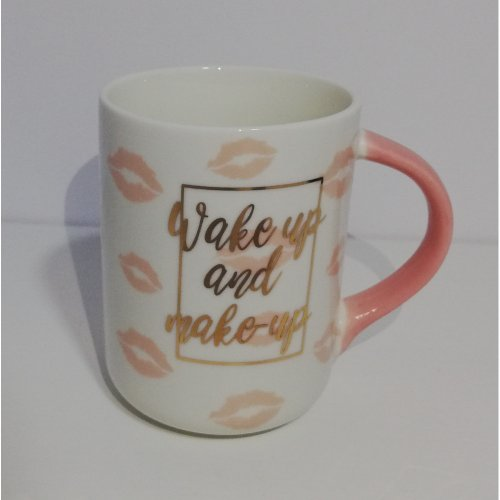 Cana din ceramica cu imprimeu auriu 'Wake up and make up'