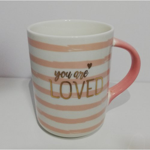 Cana ceramica cu imprimeu auriu 'You are loved'