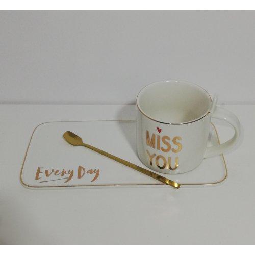 Cana si tavita din ceramica design nordic cu imprimeu 'Miss You'