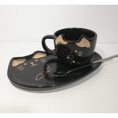 Cana si tavita din ceramica in forma de pisicuta