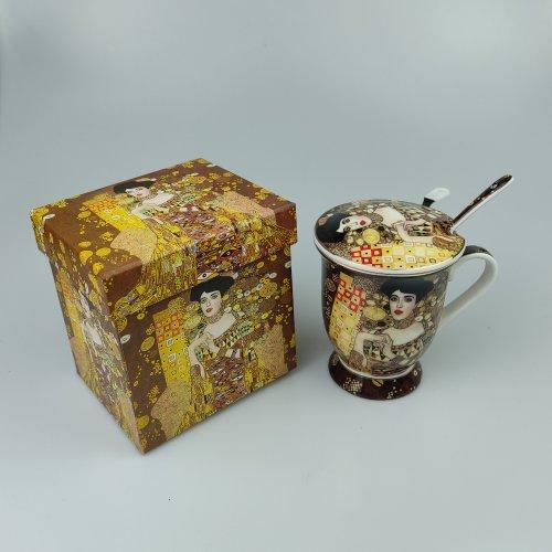 Cana cu sita, capac si lingurita, cu print Gustav Klimt