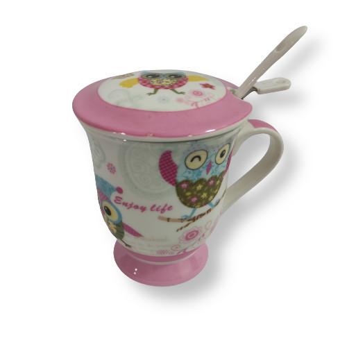 Cana ceai cu sita si lingurita, model bufnita