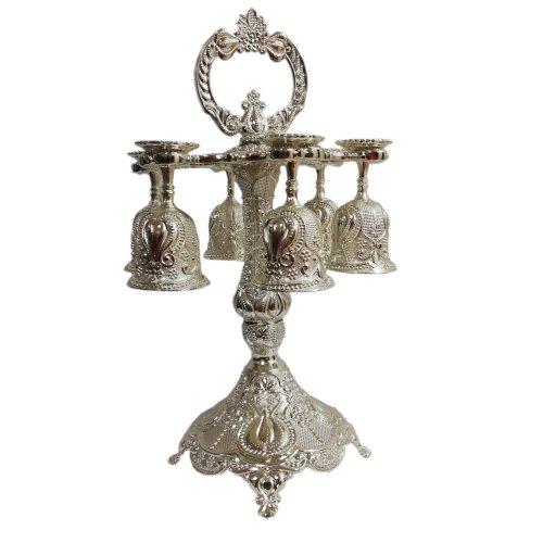 Set 6 mini pocale cu suport, din inox argintat, stil Art Deco