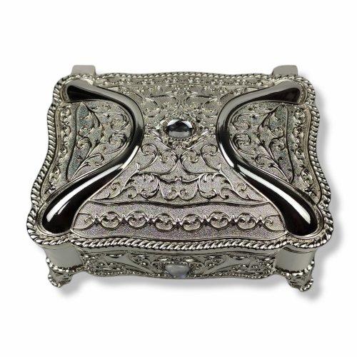 Cutie bijuterii din inox argintat si sidefat, decorata cu cristale