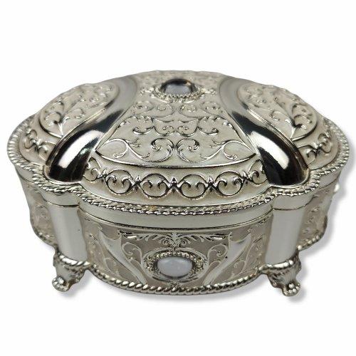 Cutie bijuterii ovala, inox argintat si cristal