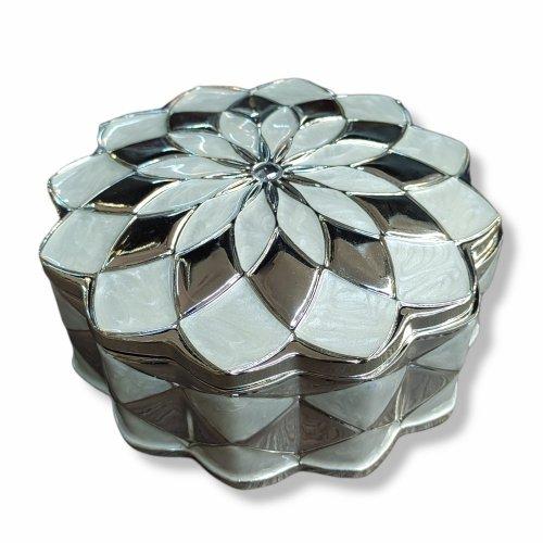 Cutiuta bijuterii rotunda, model mozaic, inox argintat si sidefat