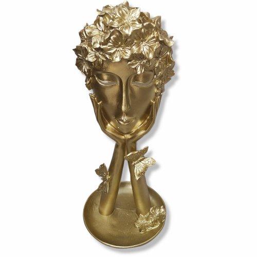 Decoratiune aurie femeie cu coroana de flori