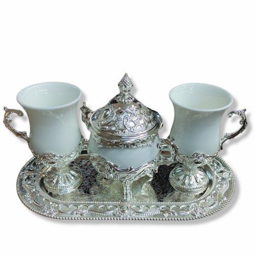 Set cafea art-deco: doua cesti si zaharnita din ceramica si inox