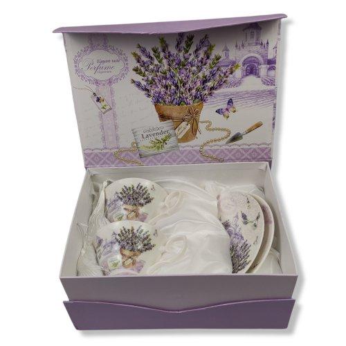 Set ceai sau cafea, cutie cadou, model lavanda