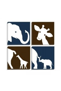 Set Tablouri Canvas White Elefant si Girafa
