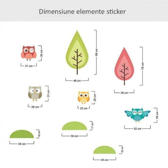 Sticker Perete Copii cu Bufnite Colorate