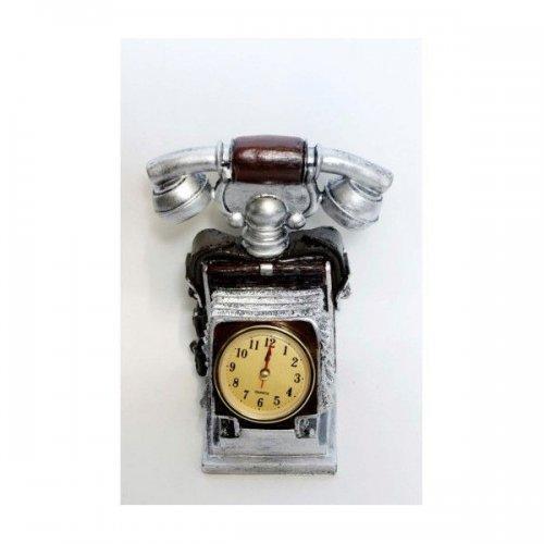 Ceas de masa argintiu cu telefon Vintage