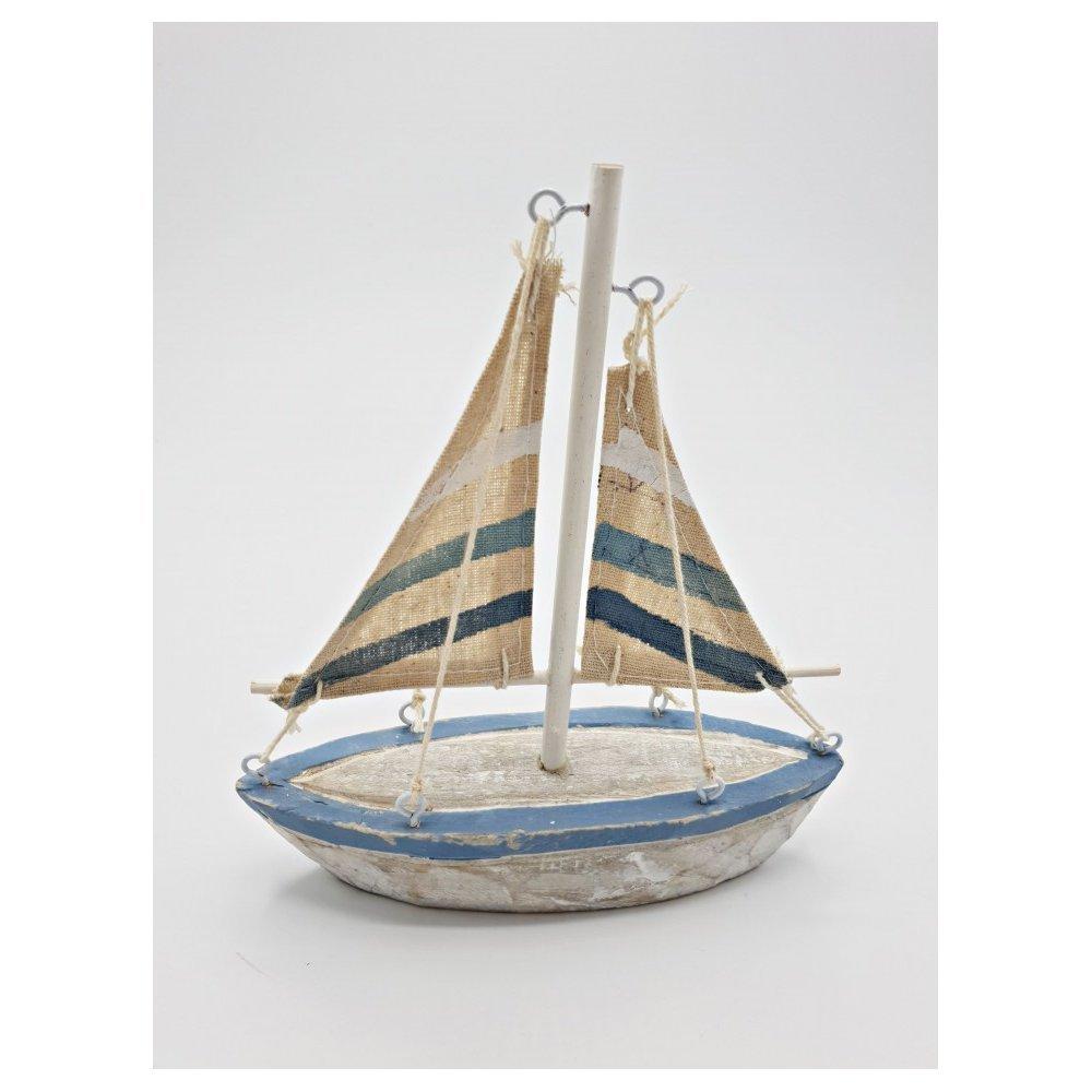 Decoratiune Barca mica dungi lemn Seaside
