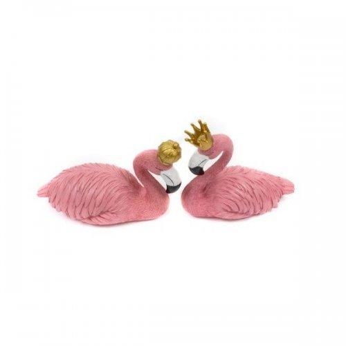 Decoratiune nunta - Pereche de flamingo Regele si Regina