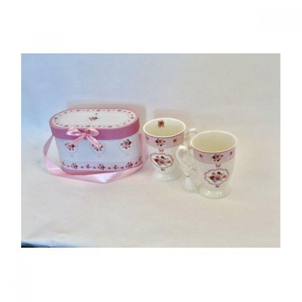 Cana Ceramica In Cutie Cadou 2/set Cu Decor Floricele