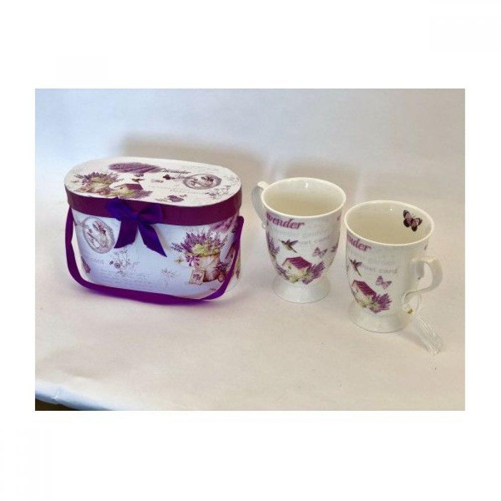 Cana Ceramica In Cutie Cadou 2/set Cu Decor Lavanda