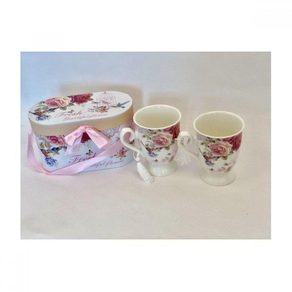 Cana Ceramica In Cutie Cadou 2/set Cu Decor Trandafiri