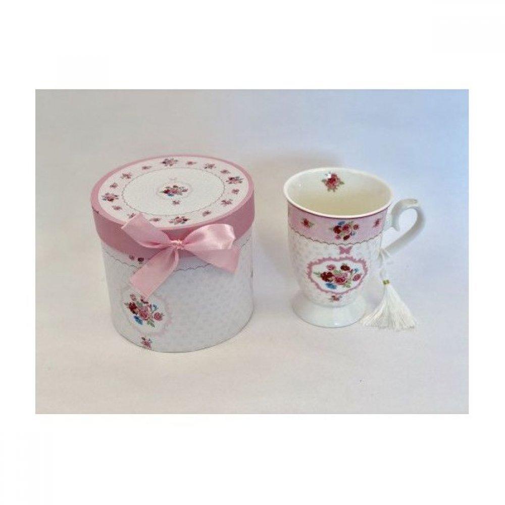Cana Ceramica In Cutie Cadou Cu Decor Floricele