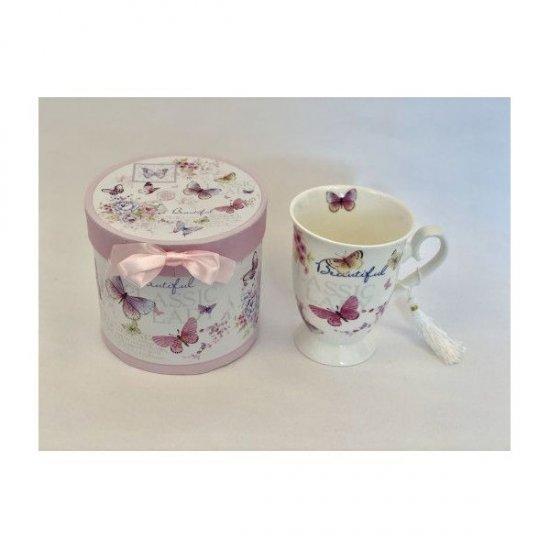 Cana Ceramica In Cutie Cadou Cu Decor Fluturi