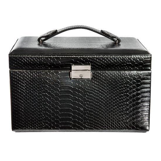 Caseta bijuterii, neagra, cu mini-portofel voiaj