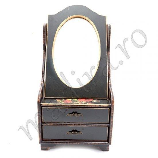 Caseta de bijuterii neagra cu oglinda