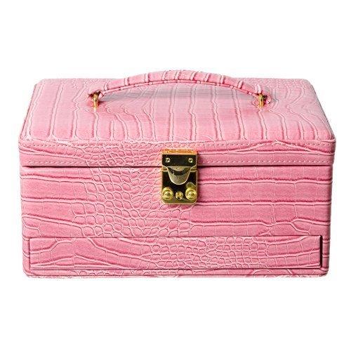 Caseta de bijuterii roz din piele sarpe cu 3 niveluri