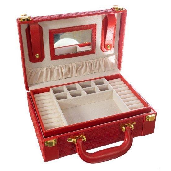 Caseta de bijuterii stil geanta rosie cu oglinda si spatii multiple de depozitare