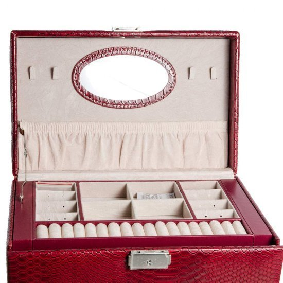 Caseta de bijuterii visinie cu mini-portofel voiaj