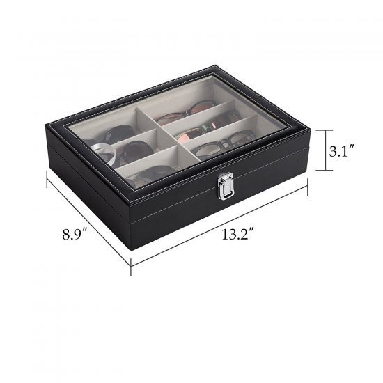 Caseta eleganta cu 8 compartimente pentru ochelari de soare