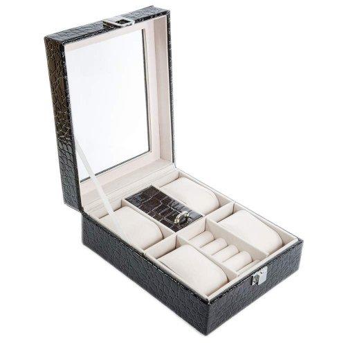 Caseta neagra model croco lucios pentru ceasuri si bijuterii