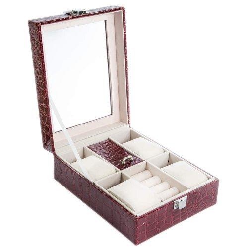 Caseta visinie pentru ceasuri si bijuterii cu imprimeu croco