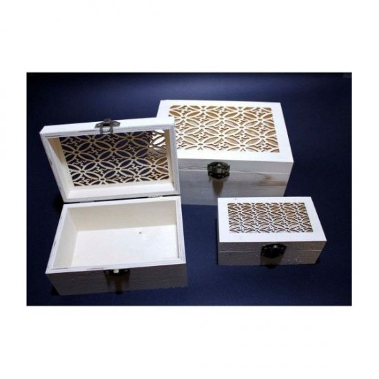 Set 3 casete din lemn dreptunghiulare cu model dantelat blanc