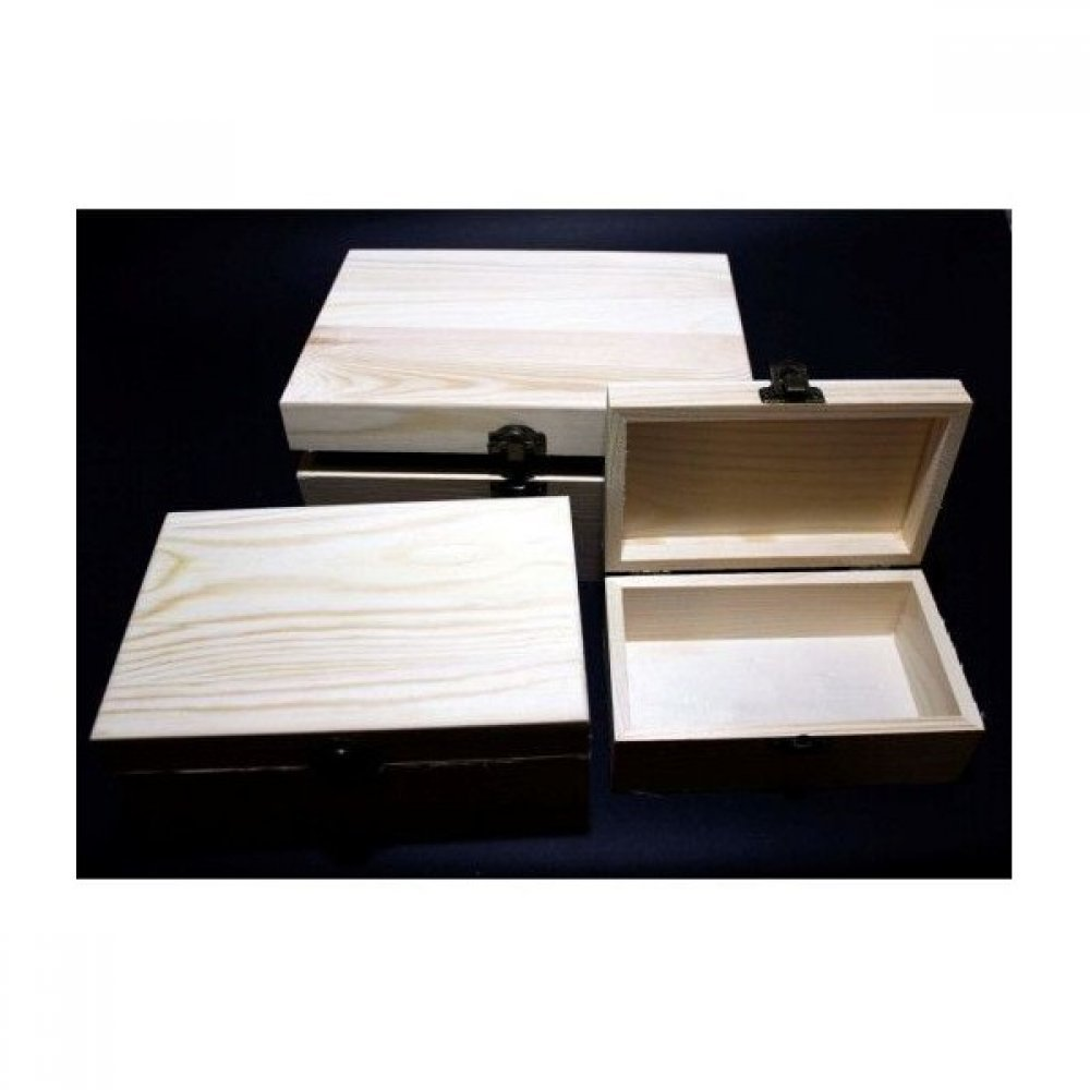 Casete din Lemn Blanc model dreptunghiular mare  3buc /set