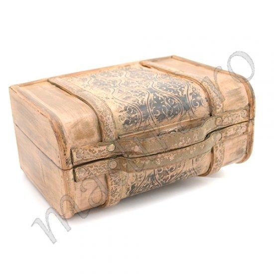 Casete de bijuterii din lemn cu piele bej vintage