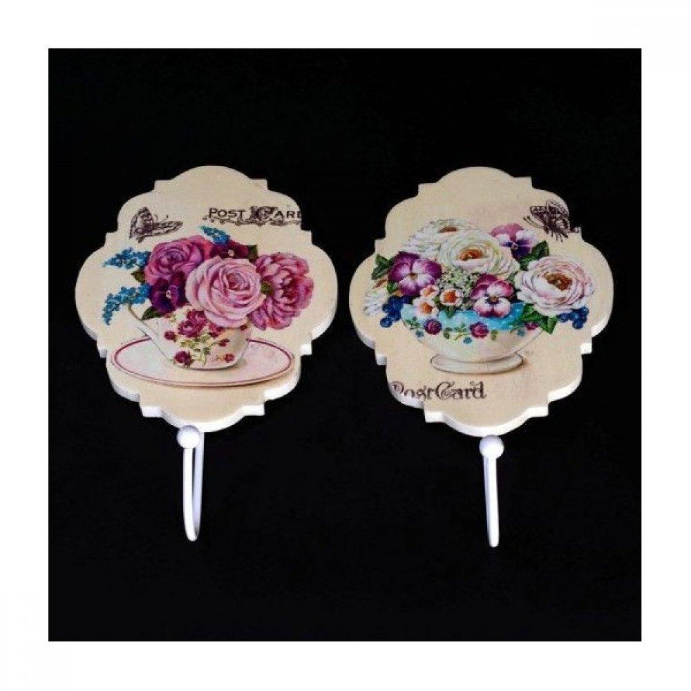 Cuier din Lemn model Oval cu flori