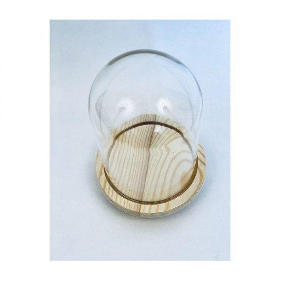 Cupole de Sticla pentru flori Cu Suport Lemn diam.10cm/H17.5cm