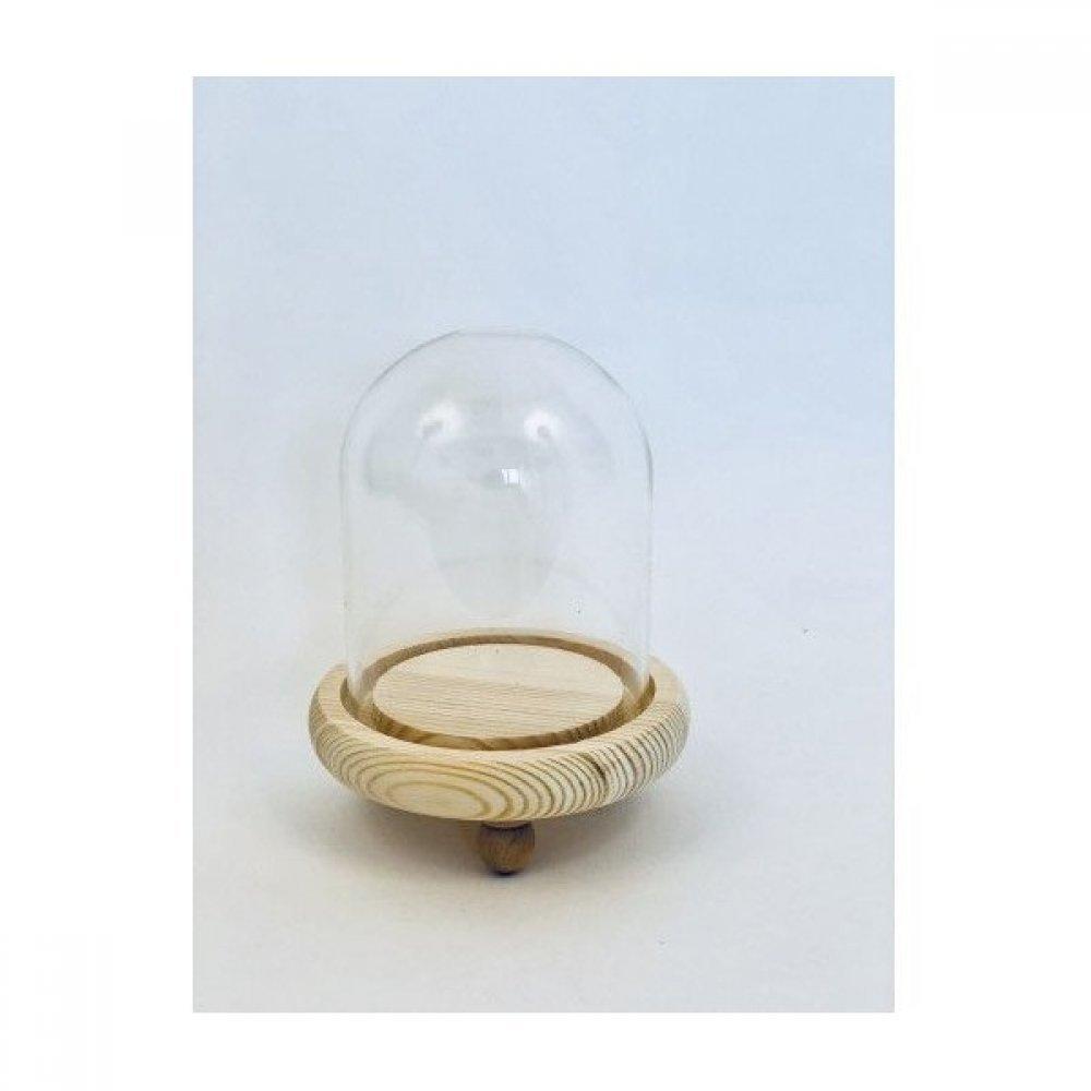 Cupole de sticla cu suport lemn diam.8cm/H13.5cm