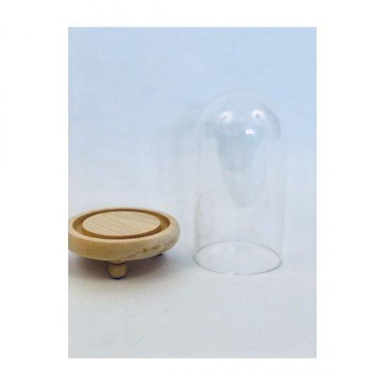 Cupola de sticla cu suport Lemn diam.8cm/H17.5cm