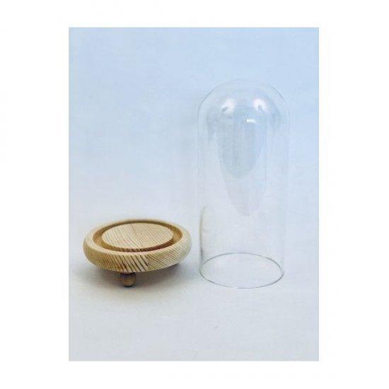 Cupola de sticla cu suport lemn diam.8cm/H20.5cm