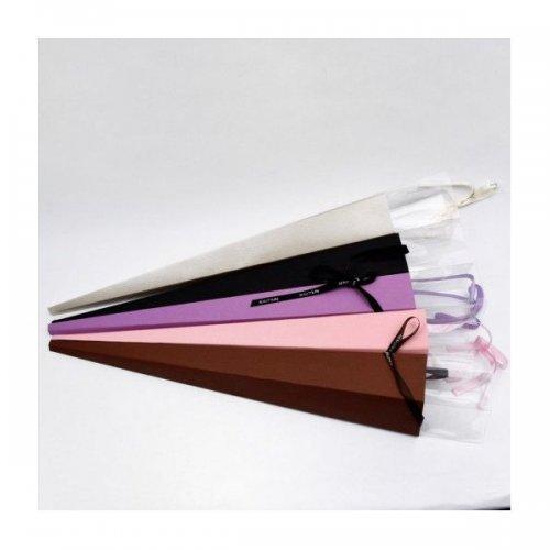 Cutie Pentru Flori Din Carton / Acetofan Cu Funda Saten Pentru O Floare 10/Set