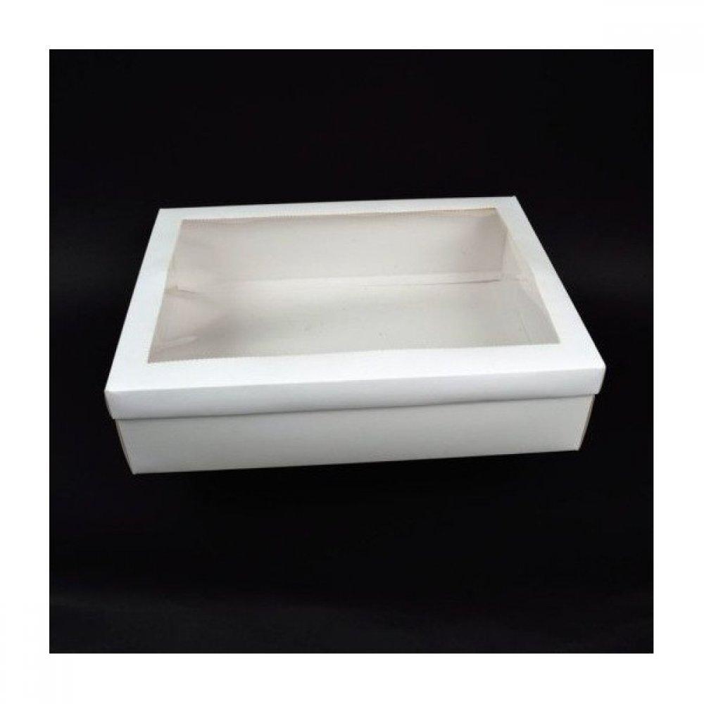 Cutie pentru flori din carton alba cu fereastra Acetofan 30cm/40cm 25/SET