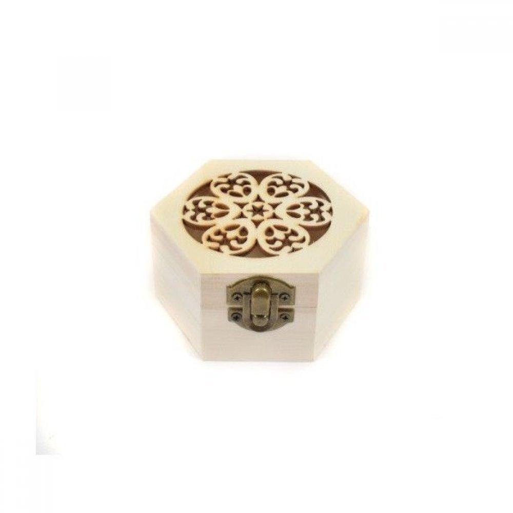 Cutie Lemn Natur Perforata Hexagon 6/set