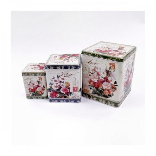 Cutie Pentru Flori Din  Metal Cubica 3/Set